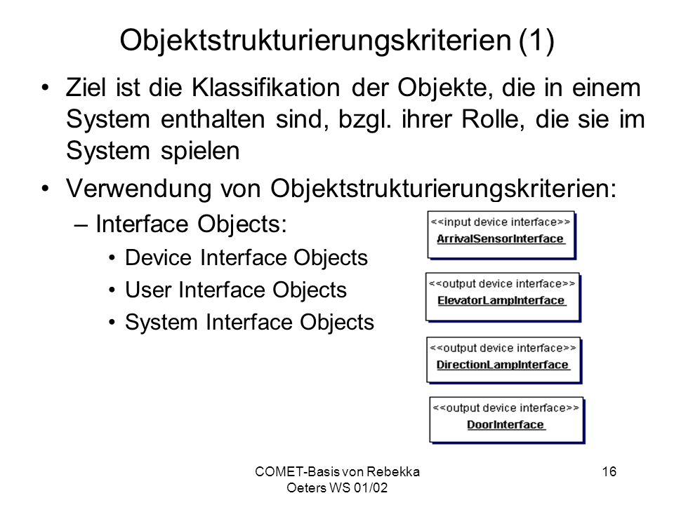 COMET-Basis von Rebekka Oeters WS 01/02 16 Objektstrukturierungskriterien (1) Ziel ist die Klassifikation der Objekte, die in einem System enthalten s