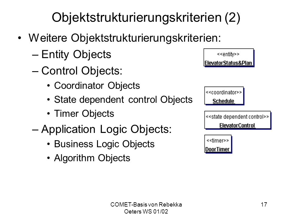 COMET-Basis von Rebekka Oeters WS 01/02 17 Objektstrukturierungskriterien (2) Weitere Objektstrukturierungskriterien: –Entity Objects –Control Objects: Coordinator Objects State dependent control Objects Timer Objects –Application Logic Objects: Business Logic Objects Algorithm Objects
