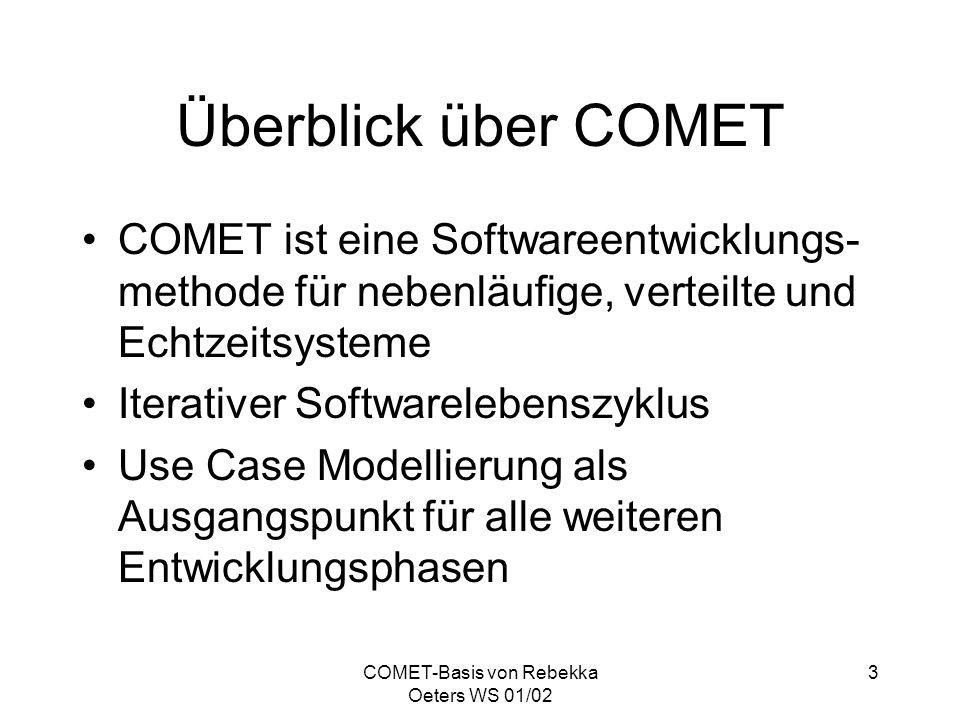COMET-Basis von Rebekka Oeters WS 01/02 3 Überblick über COMET COMET ist eine Softwareentwicklungs- methode für nebenläufige, verteilte und Echtzeitsy