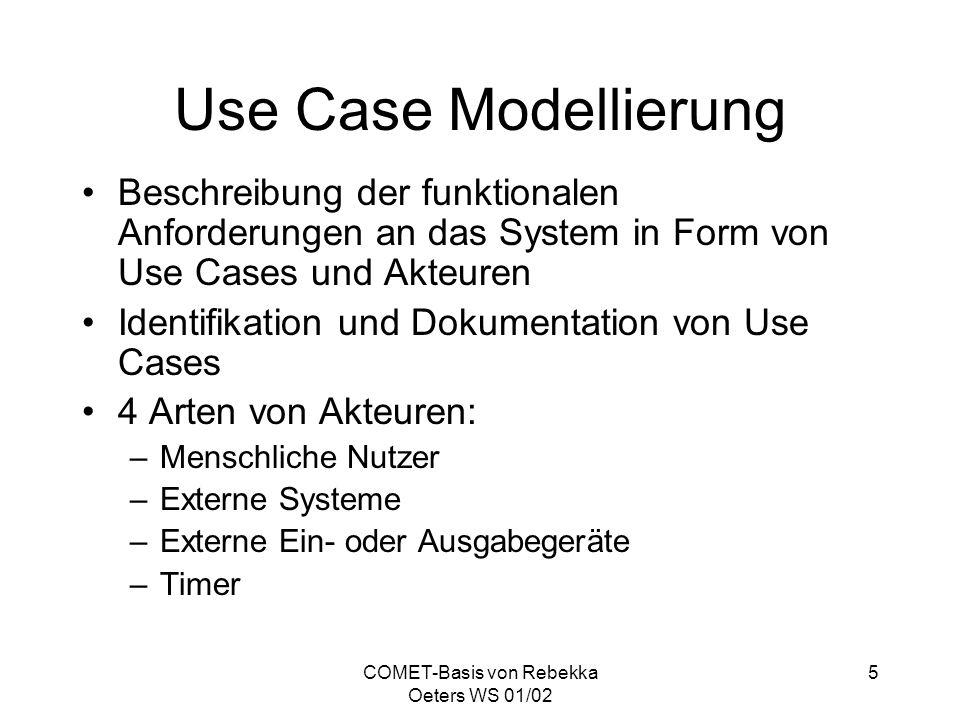 COMET-Basis von Rebekka Oeters WS 01/02 26 UML-RT UML Erweiterung zur Modellierung von verteilten, eingebetteten Echtzeitsystemen UML-RT wurde bei der Firma Rational Software von Bran Selic und Jim Rumbaugh entwickelt und geht in den UML 2.0 Standard ein Ziel ist die Defintion des genauen und vollständigen Kommunikationsablaufes zwischen Objekten mit der Möglichkeit, Klassen und Komponenten wiederzuverwenden Einführung von fünf Stereotypen: – >