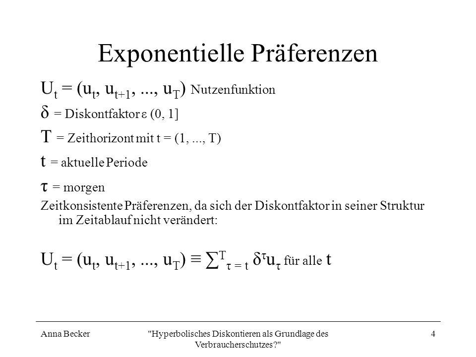 Anna Becker Hyperbolisches Diskontieren als Grundlage des Verbraucherschutzes? 5 Hyperbolische Präferenzen β ε (0, 1] Verzerrung in der nahen Zukunft (1 – β) Ausmaß der Gegenwartsverzerrung der Präferenzen 0 < β < 1 Hyperbolische Präferenzen Zeitinkonsistente Präferenzen, da sich der Diskontfaktor in der ersten Periode die Struktur δ und in den folgenden Perioden βδ hat.