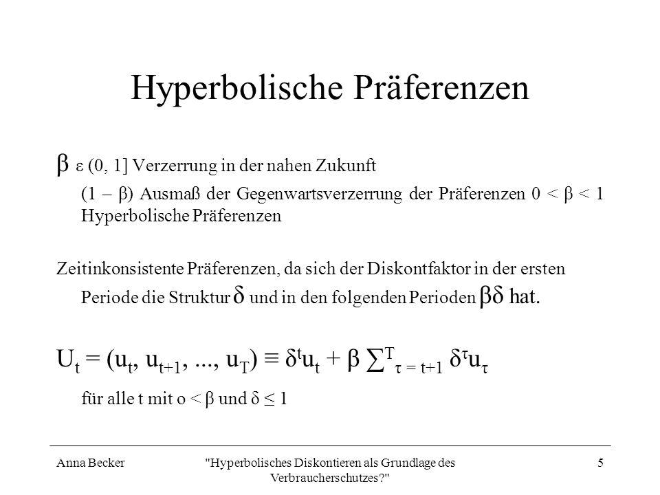 Anna Becker Hyperbolisches Diskontieren als Grundlage des Verbraucherschutzes? 6 Die hyperbolische Diskontrate für i = 0,1 und β = 0,5