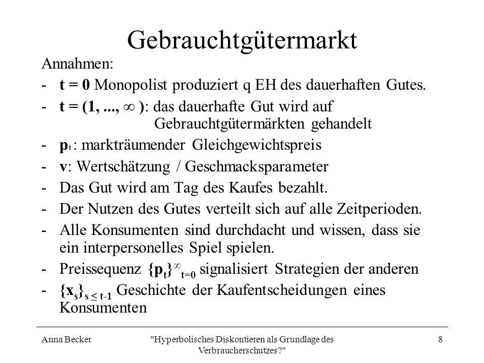 Anna Becker Hyperbolisches Diskontieren als Grundlage des Verbraucherschutzes? 9 Gebrauchtgütermarkt Budgetbeschränkung: m + p t x t-1 + p t x t + y t 0 Nutzenfunktion: u(x t, y t ; v) = vx t +y t mit x t ε [0, 1] und y t 0.