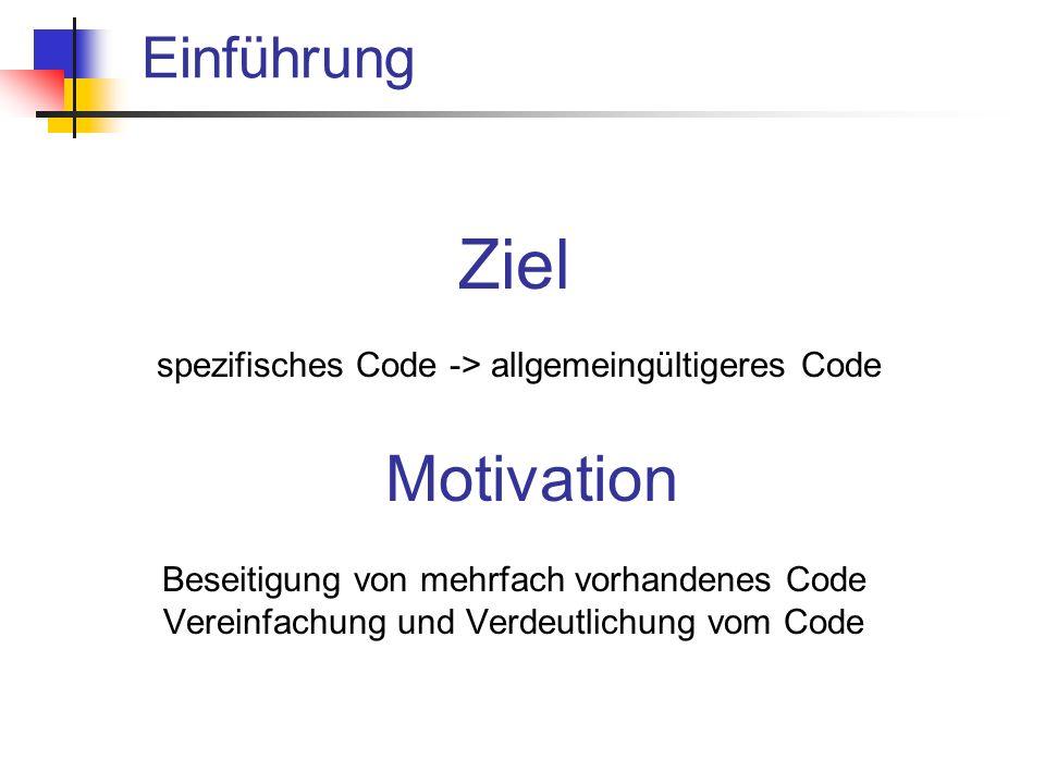 Einführung Ziel spezifisches Code -> allgemeingültigeres Code Motivation Beseitigung von mehrfach vorhandenes Code Vereinfachung und Verdeutlichung vom Code