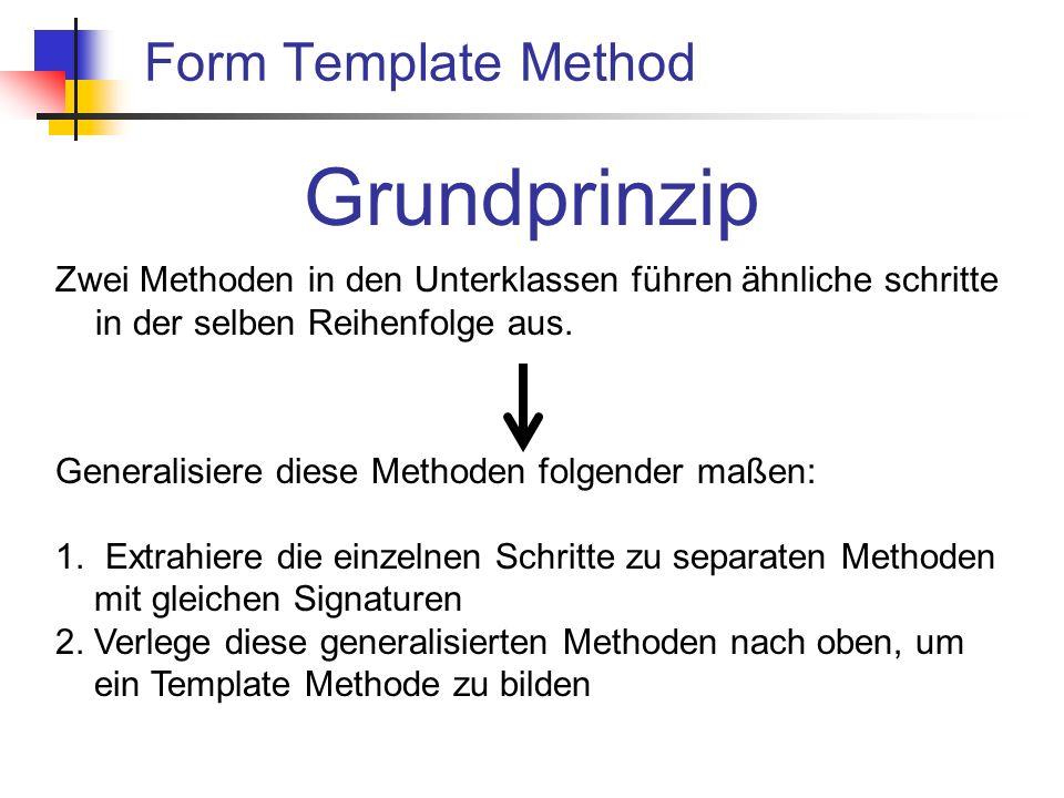 Form Template Method Grundprinzip Zwei Methoden in den Unterklassen führen ähnliche schritte in der selben Reihenfolge aus.