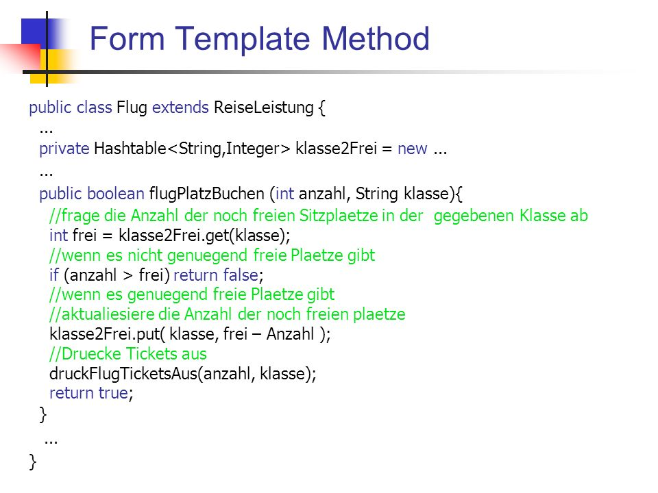 public class Flug extends ReiseLeistung {... private Hashtable klasse2Frei = new