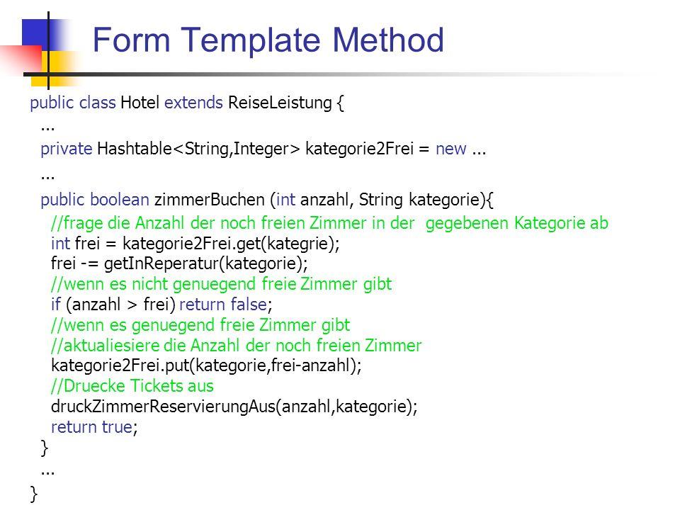 Replace implicit Language with interpreter Grundidee In einer Klasse existieren zahlreiche Versionen einer Methode für die Ausführung einer bestimmten Aufgabe, welche sich darin unterscheiden, dass sie verschiedene Kombinationen einer Gruppe von Elementen als Argumentenliste haben.