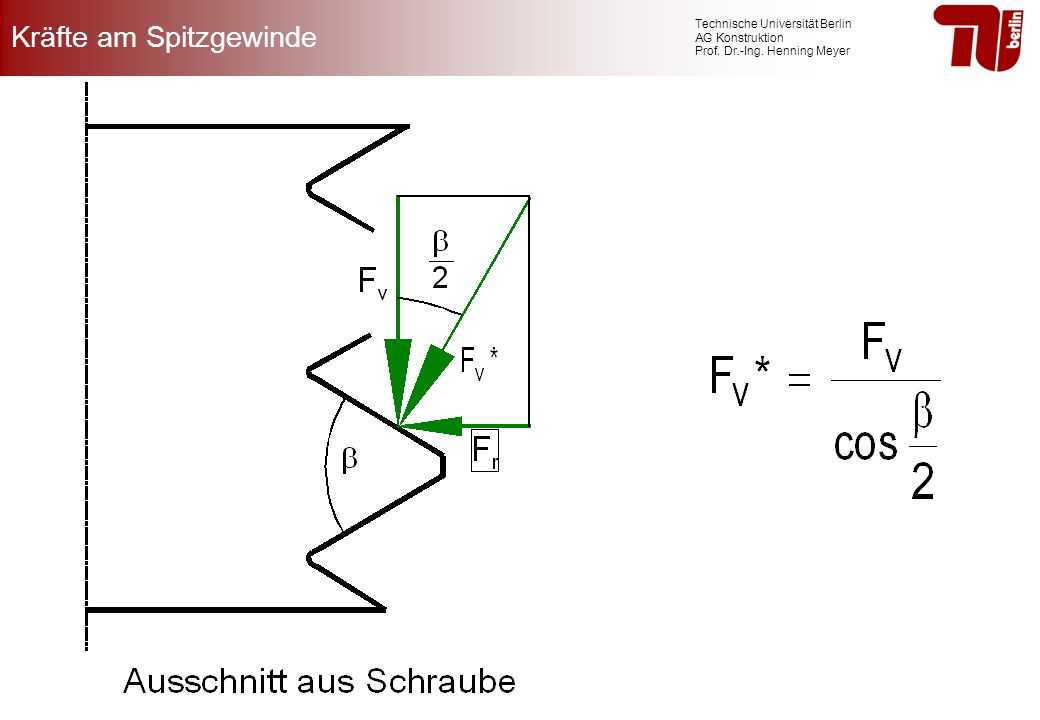 Technische Universität Berlin AG Konstruktion Prof. Dr.-Ing. Henning Meyer Kräfte am Spitzgewinde