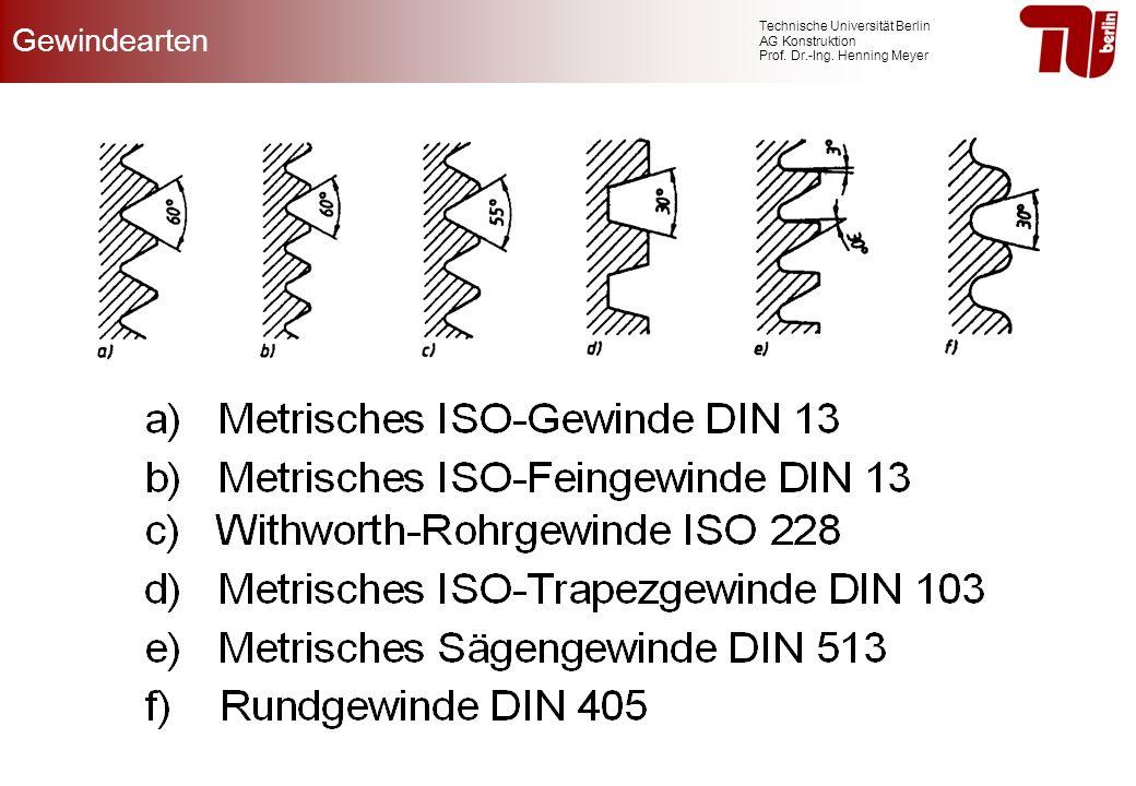 Technische Universität Berlin AG Konstruktion Prof. Dr.-Ing. Henning Meyer Gewindearten