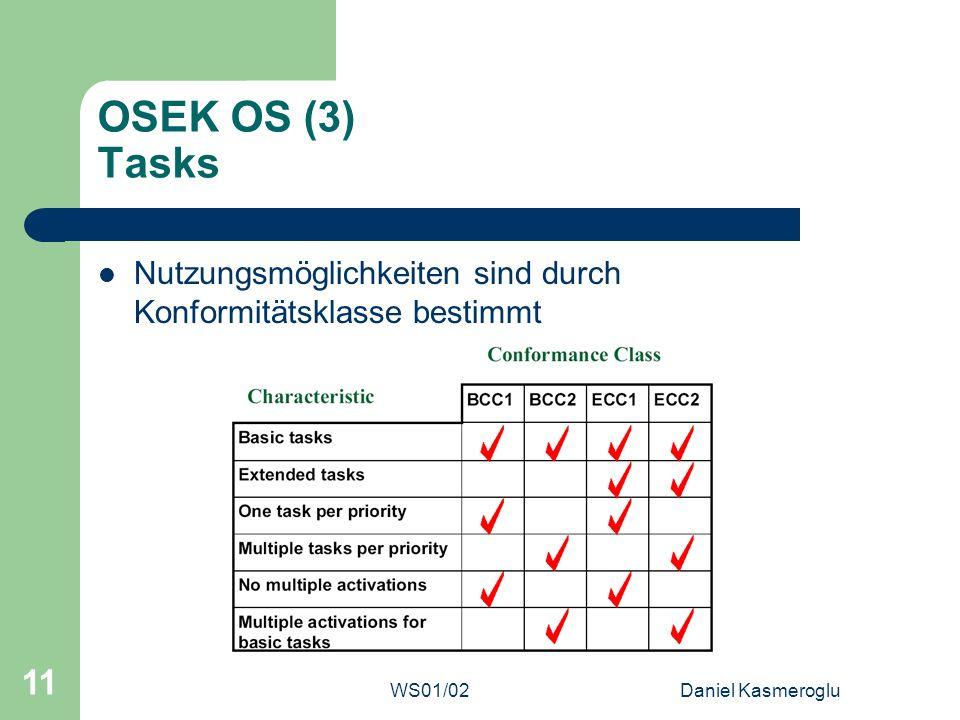 WS01/02Daniel Kasmeroglu 11 OSEK OS (3) Tasks Nutzungsmöglichkeiten sind durch Konformitätsklasse bestimmt