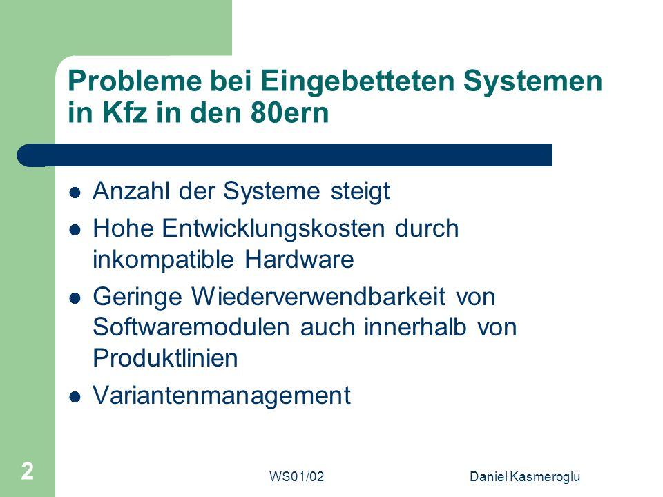 WS01/02Daniel Kasmeroglu 2 Probleme bei Eingebetteten Systemen in Kfz in den 80ern Anzahl der Systeme steigt Hohe Entwicklungskosten durch inkompatibl