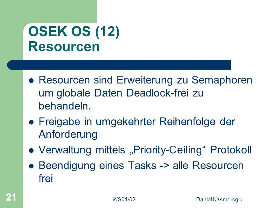 WS01/02Daniel Kasmeroglu 21 OSEK OS (12) Resourcen Resourcen sind Erweiterung zu Semaphoren um globale Daten Deadlock-frei zu behandeln. Freigabe in u