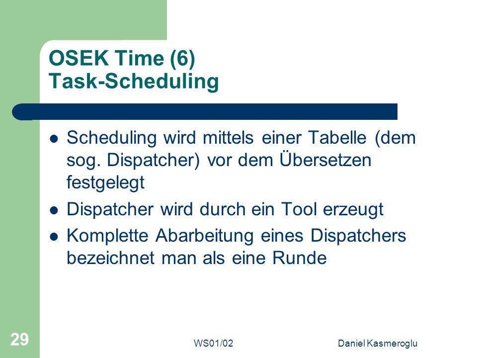 WS01/02Daniel Kasmeroglu 29 OSEK Time (6) Task-Scheduling Scheduling wird mittels einer Tabelle (dem sog. Dispatcher) vor dem Übersetzen festgelegt Di