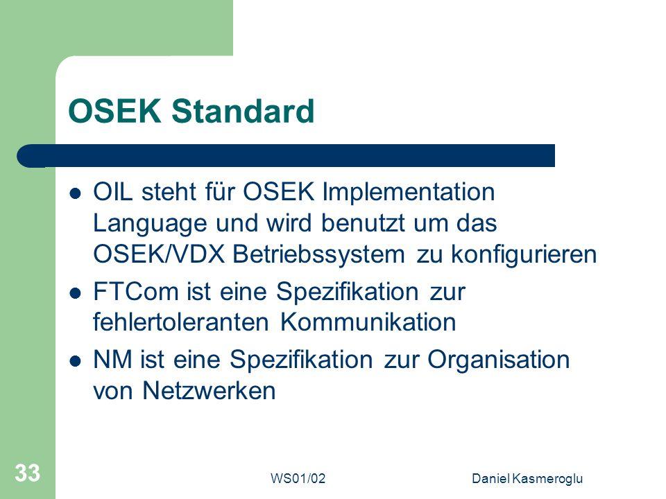 WS01/02Daniel Kasmeroglu 33 OSEK Standard OIL steht für OSEK Implementation Language und wird benutzt um das OSEK/VDX Betriebssystem zu konfigurieren