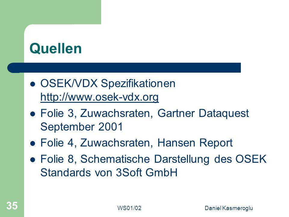 WS01/02Daniel Kasmeroglu 35 Quellen OSEK/VDX Spezifikationen http://www.osek-vdx.org http://www.osek-vdx.org Folie 3, Zuwachsraten, Gartner Dataquest