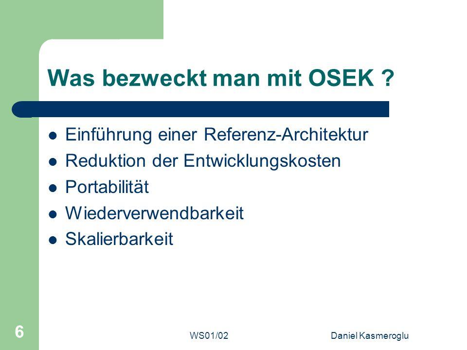 WS01/02Daniel Kasmeroglu 27 OSEK Time (4) Tasks Keine Unterscheidung bei Tasks Können nur durch die Dispatcher-Tabelle angestossen werden (Aktivierungsevent) WCET muss für jeden Task ermittelt werden können