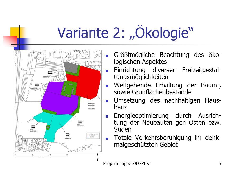 Projektgruppe 34 GPEK I5 Variante 2: Ökologie Größtmögliche Beachtung des öko- logischen Aspektes Einrichtung diverser Freizeitgestal- tungsmöglichkeiten Weitgehende Erhaltung der Baum-, sowie Grünflächenbestände Umsetzung des nachhaltigen Haus- baus Energieoptimierung durch Ausrich- tung der Neubauten gen Osten bzw.