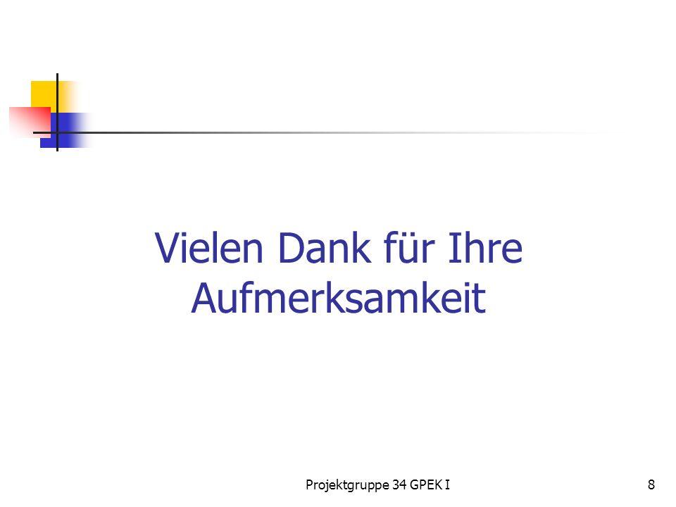 Projektgruppe 34 GPEK I8 Vielen Dank für Ihre Aufmerksamkeit