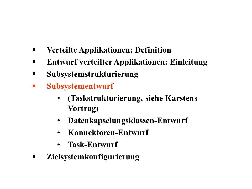 Verteilte Applikationen: Definition Entwurf verteilter Applikationen: Einleitung Subsystemstrukturierung Subsystementwurf (Taskstrukturierung, siehe K