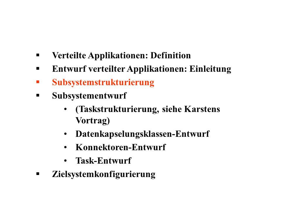 Verteilte Applikationen: Definition Entwurf verteilter Applikationen: Einleitung Subsystemstrukturierung Subsystementwurf (Taskstrukturierung, siehe Karstens Vortrag) Datenkapselungsklassen-Entwurf Konnektoren-Entwurf Task-Entwurf Zielsystemkonfigurierung