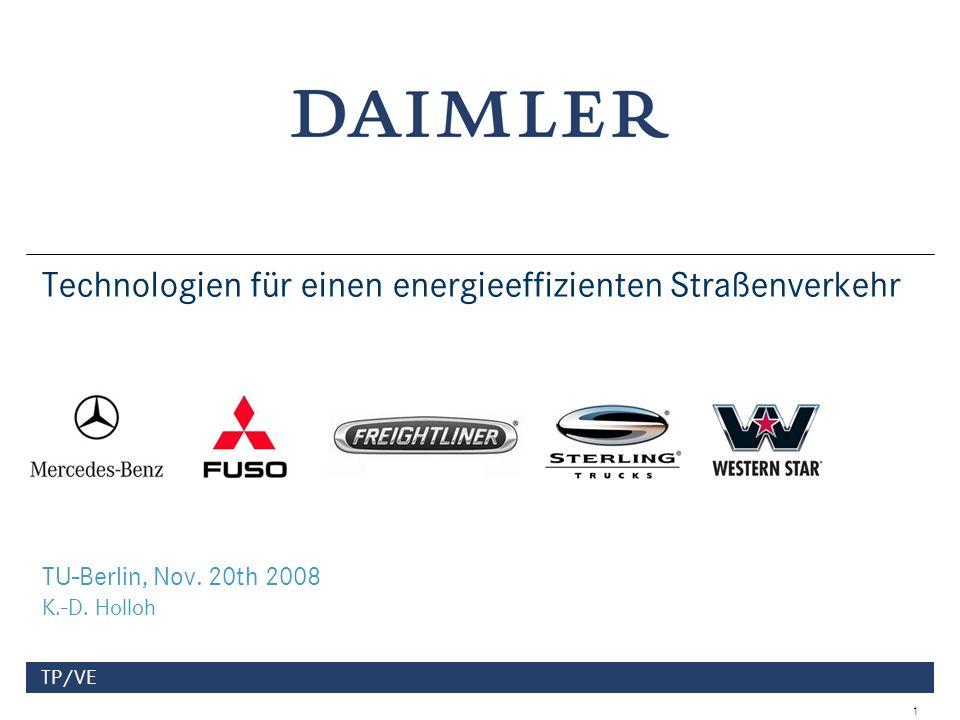 Daimler Trucks TP/VE2 2006200720082009201020132017 LDT, MDT & HDT 3859 5409 2000 20102020203020402050 Rail and Road 0 1 2 3 4 5 6 0 10 20 30 40 50 Trillions (10 12 )of Tonne-Kilometers/YearWorld Truck Market Development 000 units Source: Sustainable Mobility Project calculation Average Annual Growth Rates 2000 – 2030 = 2,5% 2000 – 2050 = 2,3% Der Markt für Nutzfahrzeuge und Transportleistungen wird auch in den nächsten zehn Jahren weiter wachsen