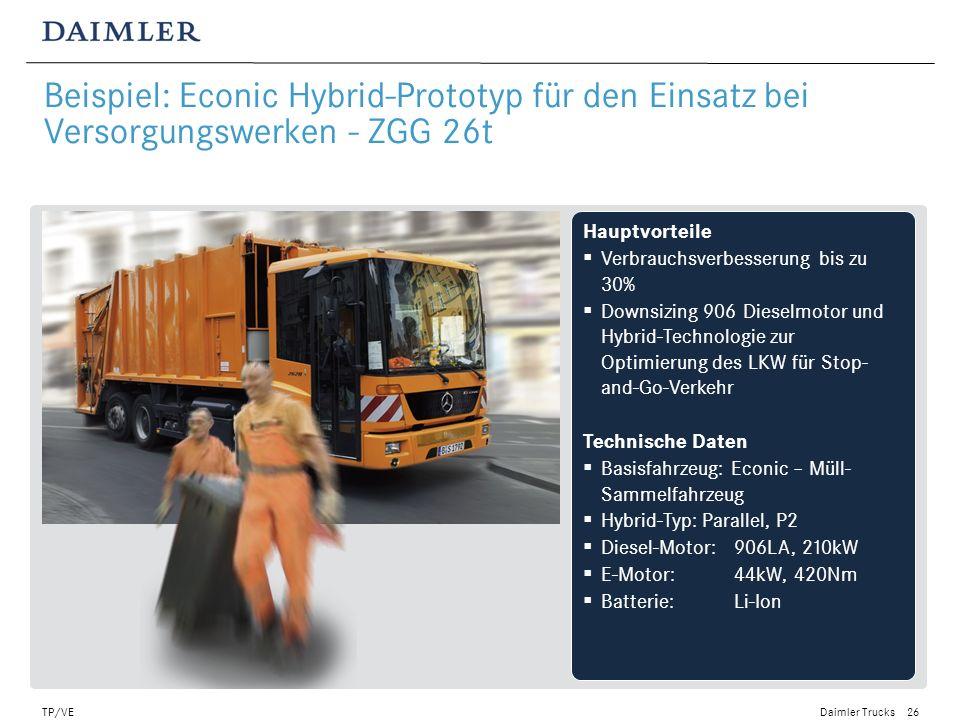 Daimler Trucks TP/VE27 Technologien zur Abgaswärmenutzung können einen deutlichen Schritt zur Senkung des Kraftstoffverbrauchs beitragen Gegenwärtig werden ca.