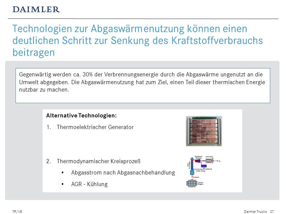 Daimler Trucks TP/VE28 Abgaswärmenutzung mittels eines thermoelektrischen Generators: Strom direkt aus Abwärme Prinzipschaubild einer thermoelektrischen Anwendung.