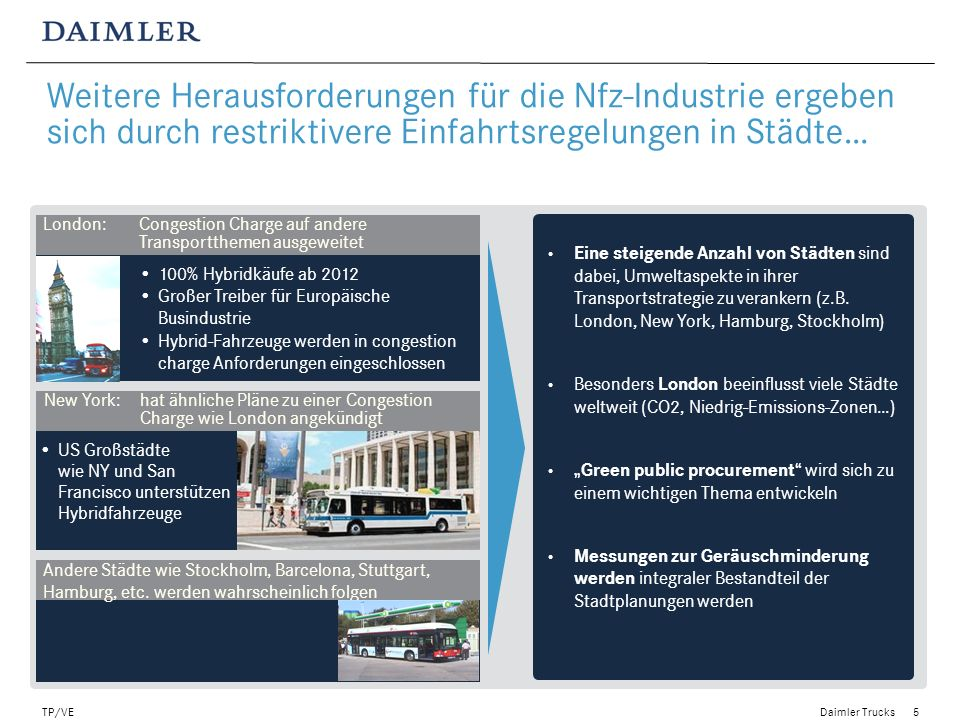 Daimler Trucks TP/VE5 Green procurement activities Larger cities focus also on the reduction of noise Eine steigende Anzahl von Städten sind dabei, Um