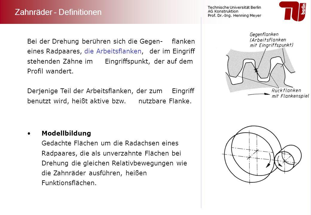 Technische Universität Berlin AG Konstruktion Prof. Dr.-Ing. Henning Meyer Bei der Drehung berühren sich die Gegen- flanken eines Radpaares, die Arbei