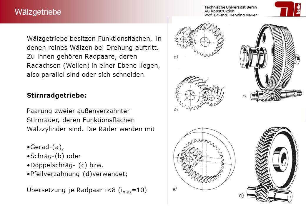 Technische Universität Berlin AG Konstruktion Prof. Dr.-Ing. Henning Meyer Wälzgetriebe besitzen Funktionsflächen, in denen reines Wälzen bei Drehung