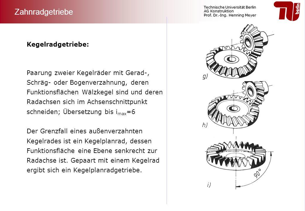 Technische Universität Berlin AG Konstruktion Prof. Dr.-Ing. Henning Meyer Paarung zweier Kegelräder mit Gerad-, Schräg- oder Bogenverzahnung, deren F
