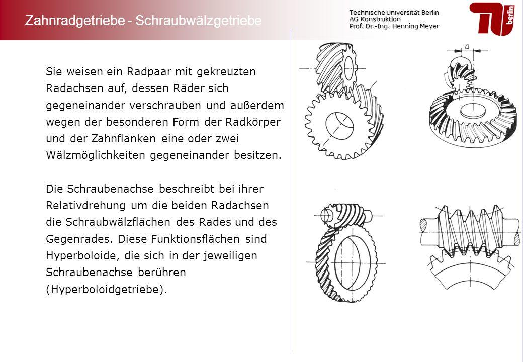 Technische Universität Berlin AG Konstruktion Prof. Dr.-Ing. Henning Meyer Sie weisen ein Radpaar mit gekreuzten Radachsen auf, dessen Räder sich gege