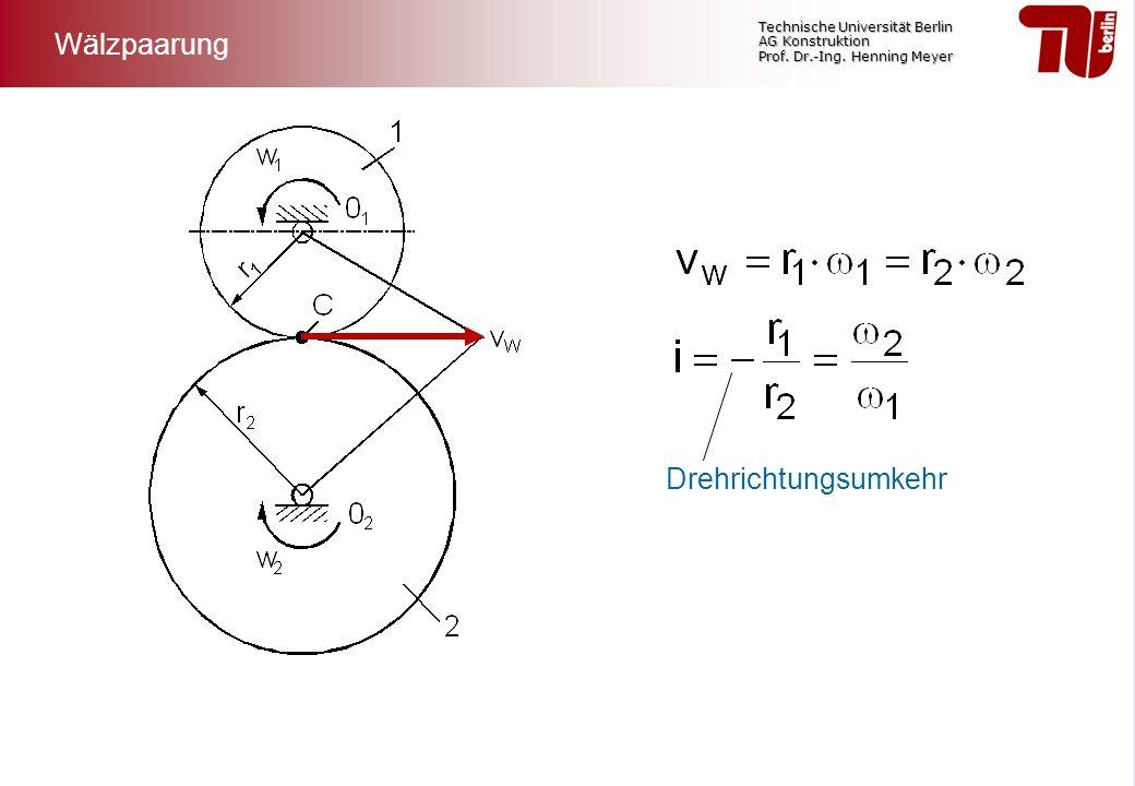 Technische Universität Berlin AG Konstruktion Prof. Dr.-Ing. Henning Meyer Wälzpaarung Drehrichtungsumkehr