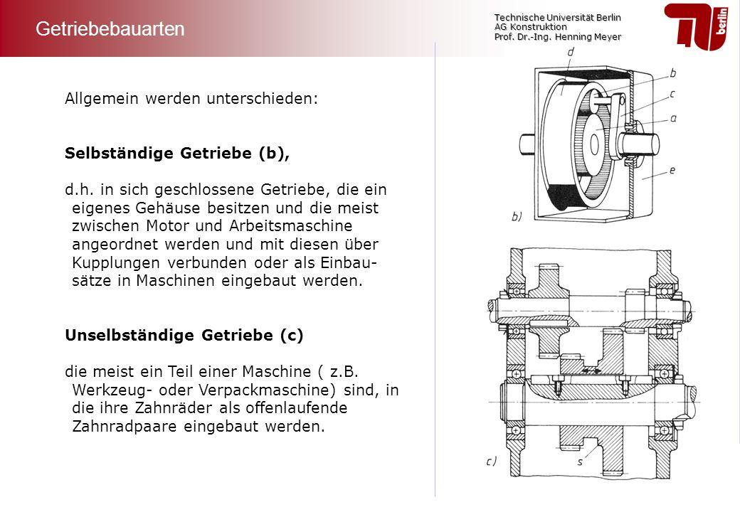 Technische Universität Berlin AG Konstruktion Prof. Dr.-Ing. Henning Meyer Allgemein werden unterschieden: Selbständige Getriebe (b), d.h. in sich ges