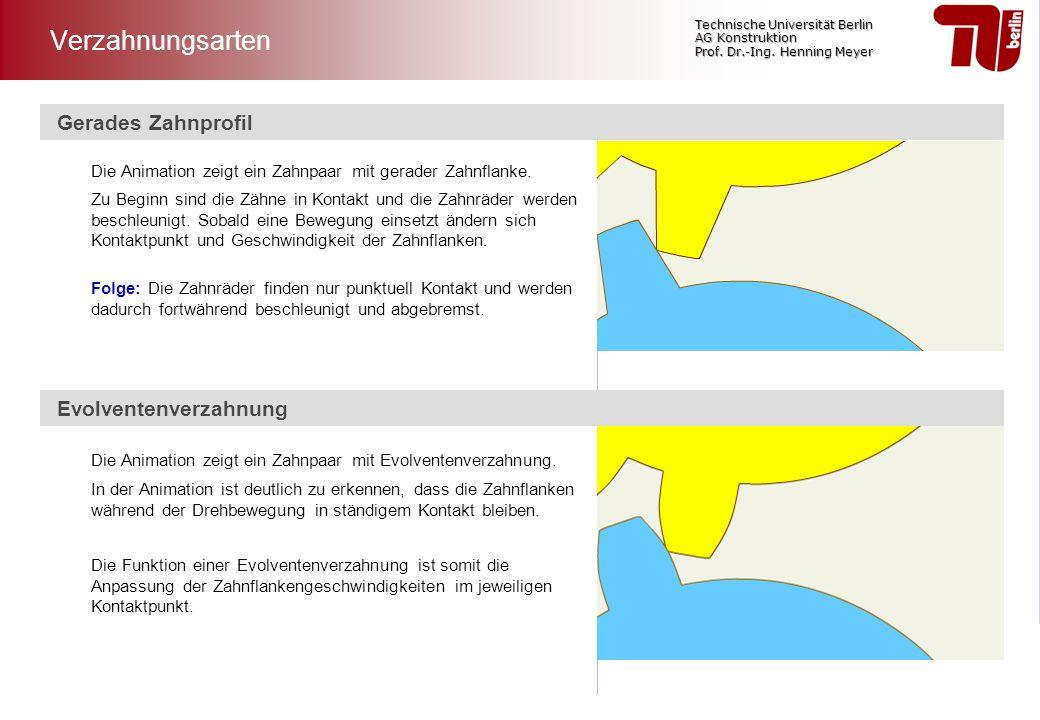 Technische Universität Berlin AG Konstruktion Prof. Dr.-Ing. Henning Meyer Gerades Zahnprofil Die Animation zeigt ein Zahnpaar mit gerader Zahnflanke.