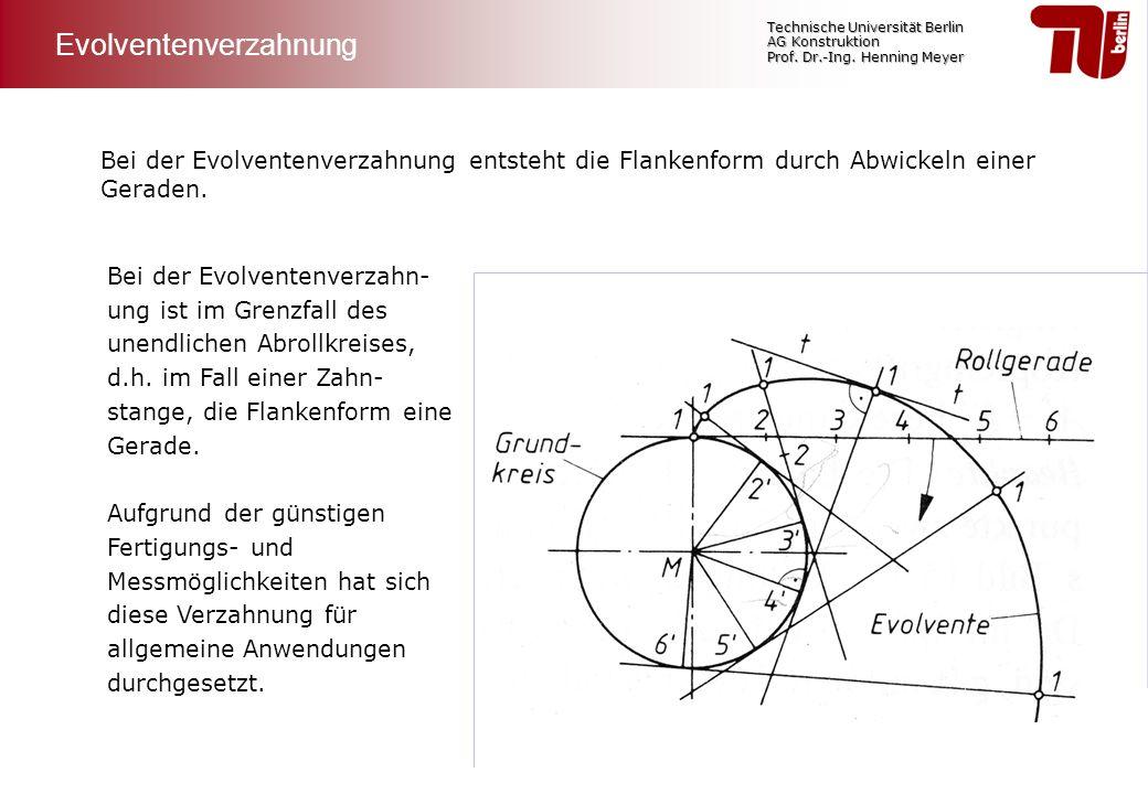 Technische Universität Berlin AG Konstruktion Prof. Dr.-Ing. Henning Meyer Bei der Evolventenverzahnung entsteht die Flankenform durch Abwickeln einer