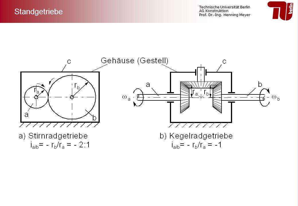 Technische Universität Berlin AG Konstruktion Prof. Dr.-Ing. Henning Meyer Standgetriebe