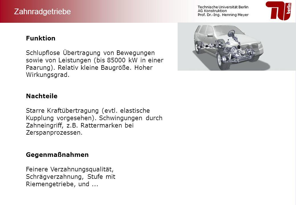 Technische Universität Berlin AG Konstruktion Prof. Dr.-Ing. Henning Meyer Funktion Schlupflose Übertragung von Bewegungen sowie von Leistungen (bis 8