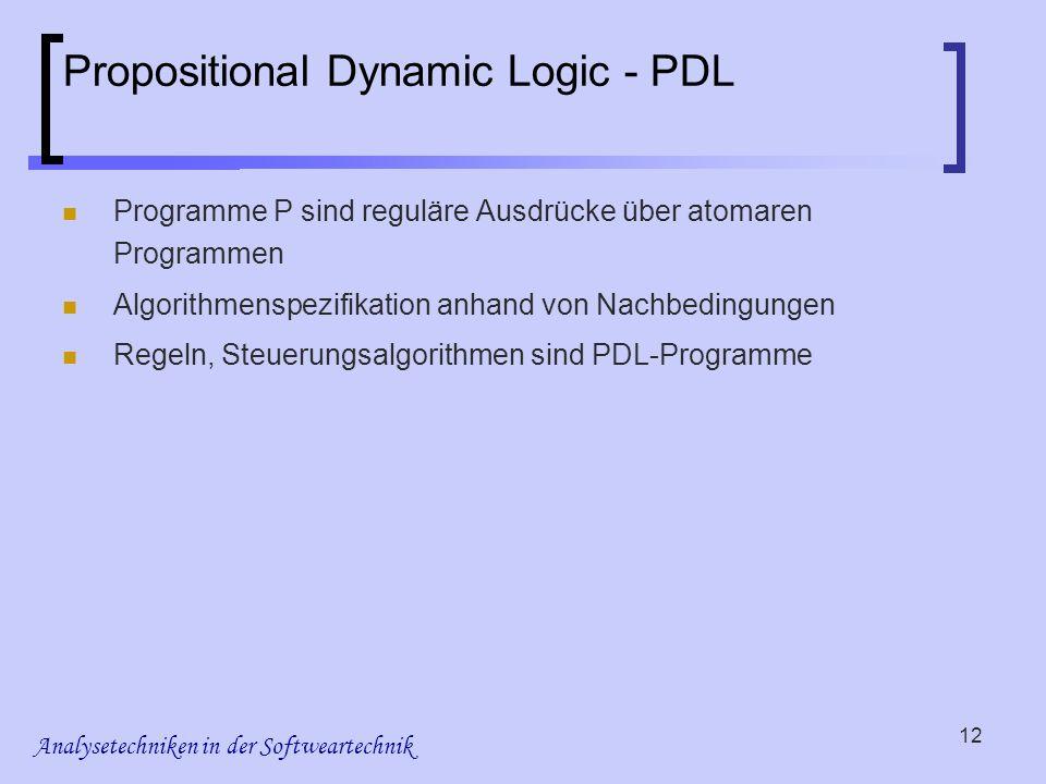 Analysetechniken in der Softweartechnik 12 Propositional Dynamic Logic - PDL Programme P sind reguläre Ausdrücke über atomaren Programmen Algorithmens