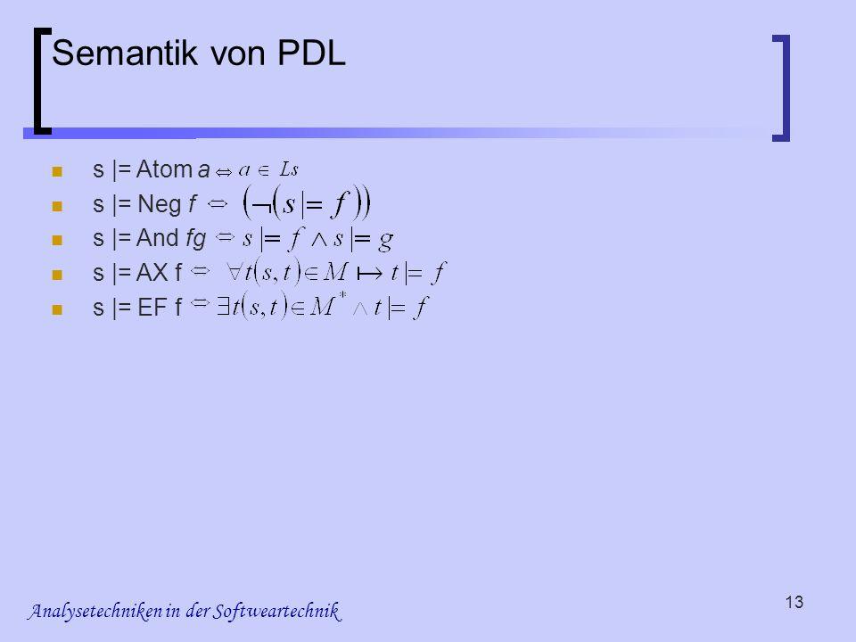 Analysetechniken in der Softweartechnik 13 Semantik von PDL s |= Atom a s |= Neg f s |= And fg s |= AX f s |= EF f