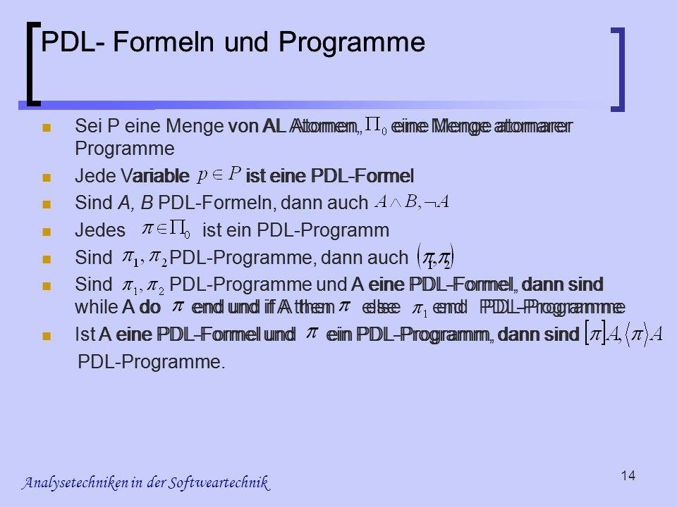 Analysetechniken in der Softweartechnik 14 PDL- Formeln und Programme Sei P eine Menge von AL Atomen, eine Menge atomarer Programme Jede Variable ist