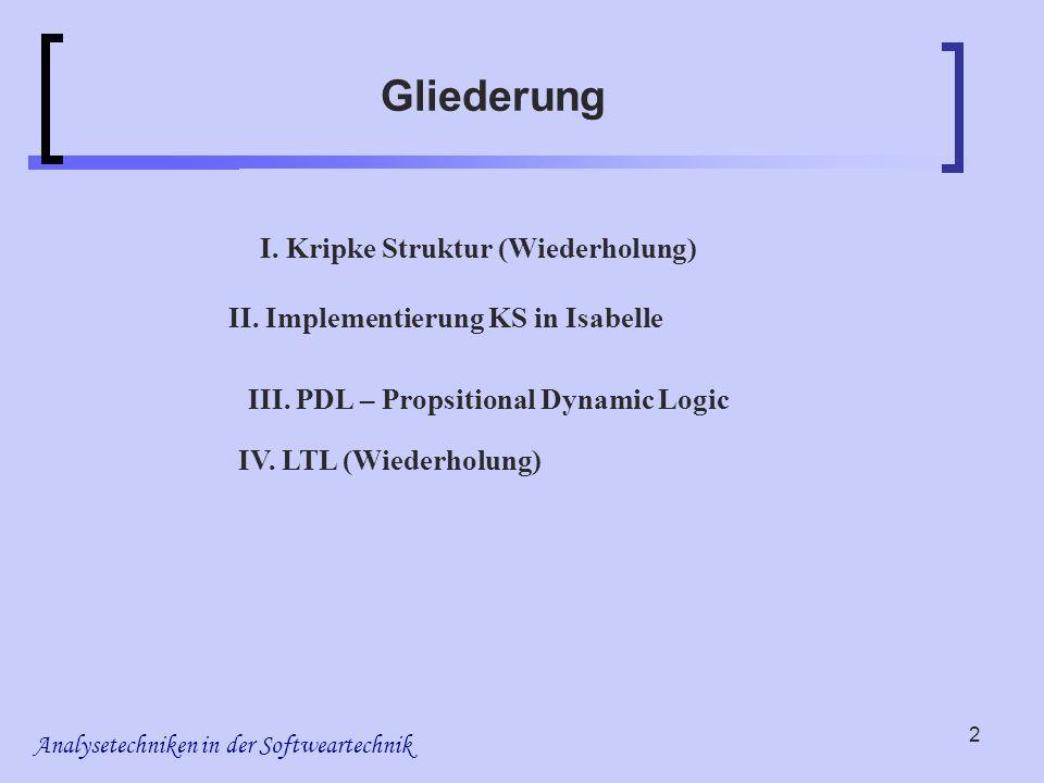 Analysetechniken in der Softweartechnik 2 Gliederung I. Kripke Struktur (Wiederholung) II. Implementierung KS in Isabelle IV. LTL (Wiederholung) III.