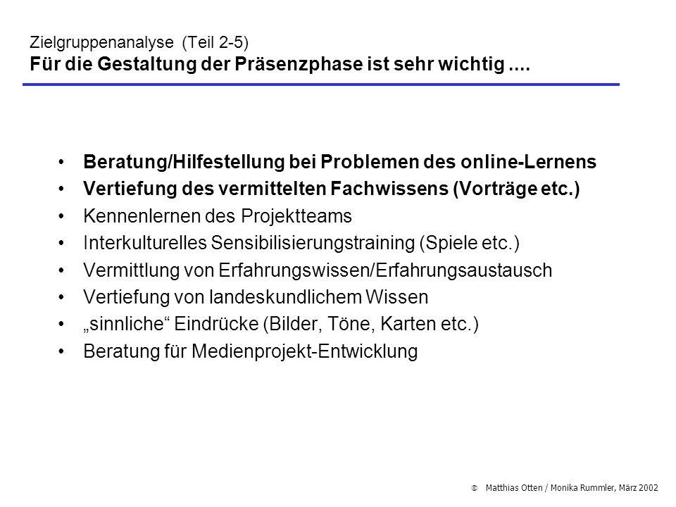 Matthias Otten / Monika Rummler, März 2002 Zielgruppenanalyse (Teil 2-5) Für die Gestaltung der Präsenzphase ist sehr wichtig.... Beratung/Hilfestellu