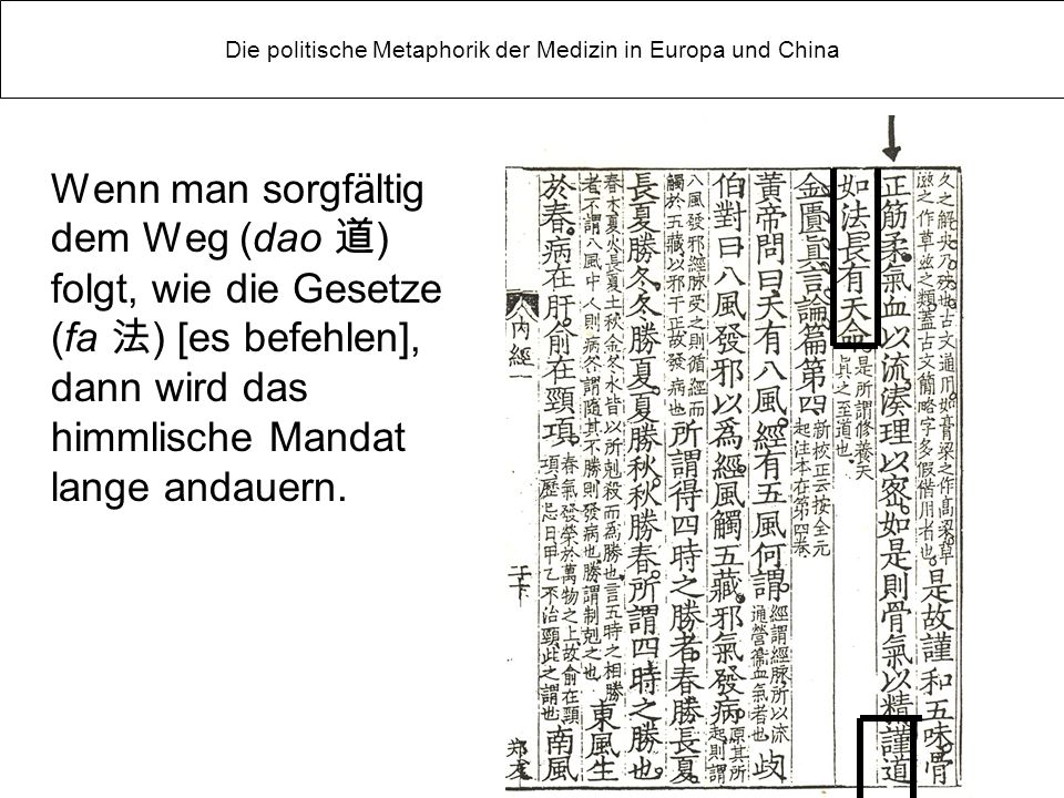 Wenn man sorgfältig dem Weg (dao ) folgt, wie die Gesetze (fa ) [es befehlen], dann wird das himmlische Mandat lange andauern.
