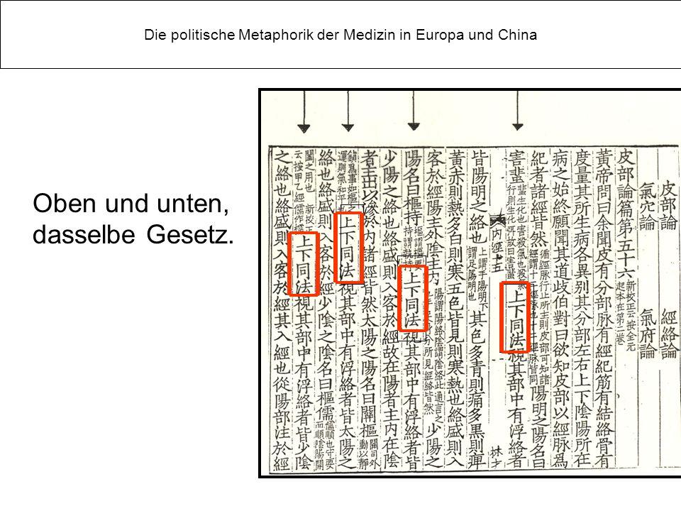 Oben und unten, dasselbe Gesetz. Die politische Metaphorik der Medizin in Europa und China