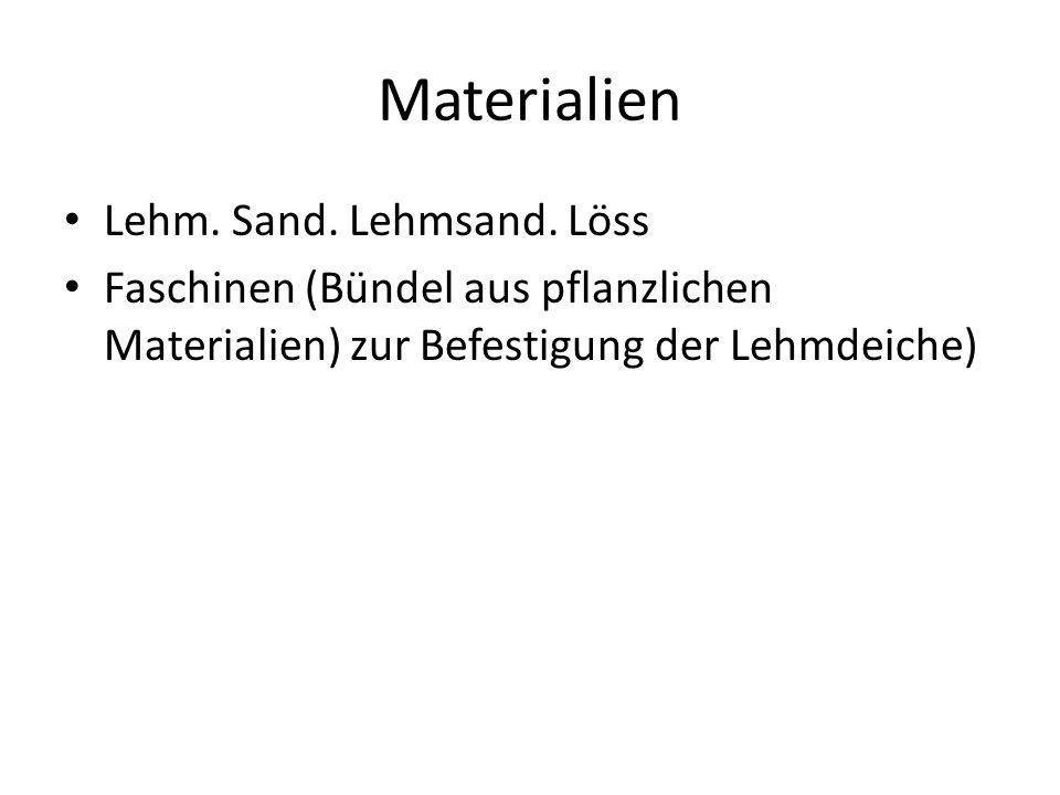 Materialien Lehm. Sand. Lehmsand. Löss Faschinen (Bündel aus pflanzlichen Materialien) zur Befestigung der Lehmdeiche)
