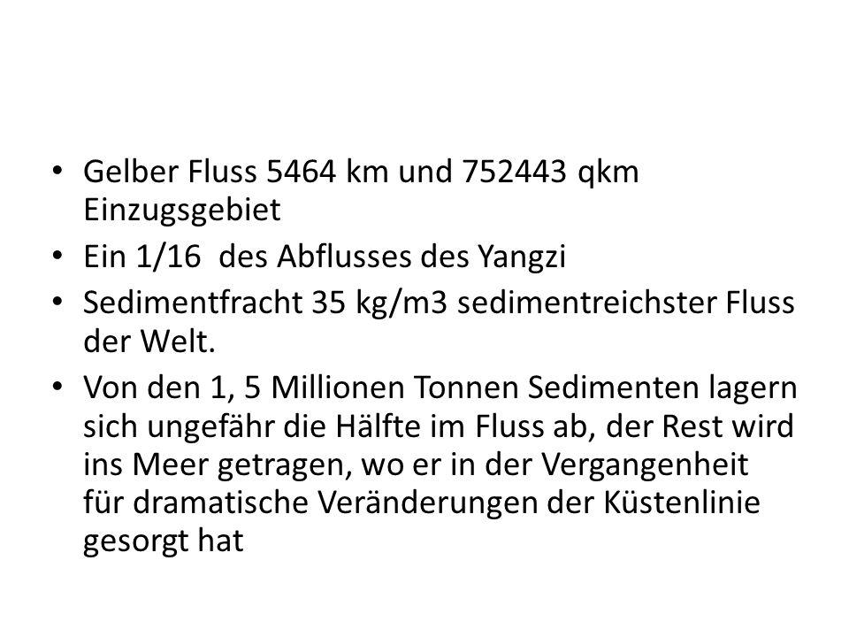 Gelber Fluss 5464 km und 752443 qkm Einzugsgebiet Ein 1/16 des Abflusses des Yangzi Sedimentfracht 35 kg/m3 sedimentreichster Fluss der Welt. Von den