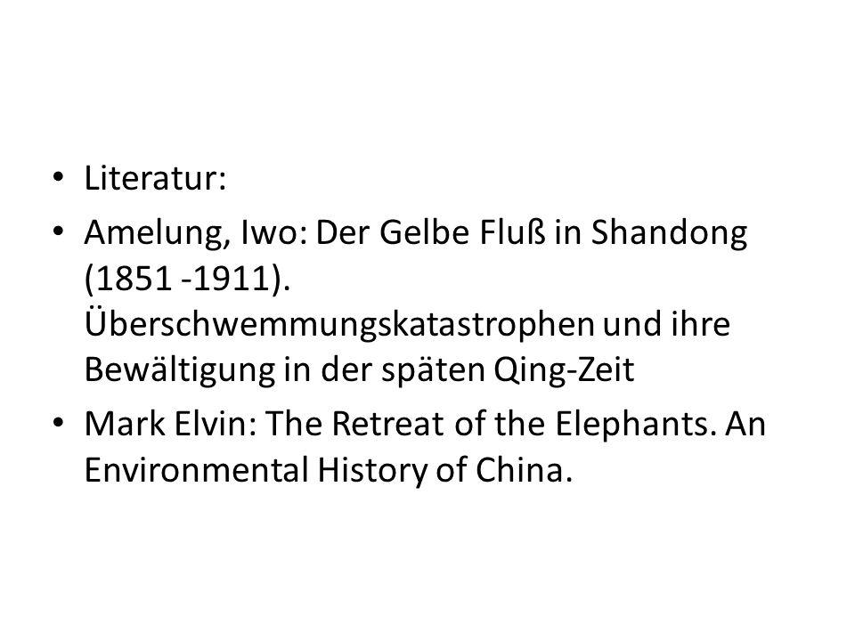 Literatur: Amelung, Iwo: Der Gelbe Fluß in Shandong (1851 -1911). Überschwemmungskatastrophen und ihre Bewältigung in der späten Qing-Zeit Mark Elvin: