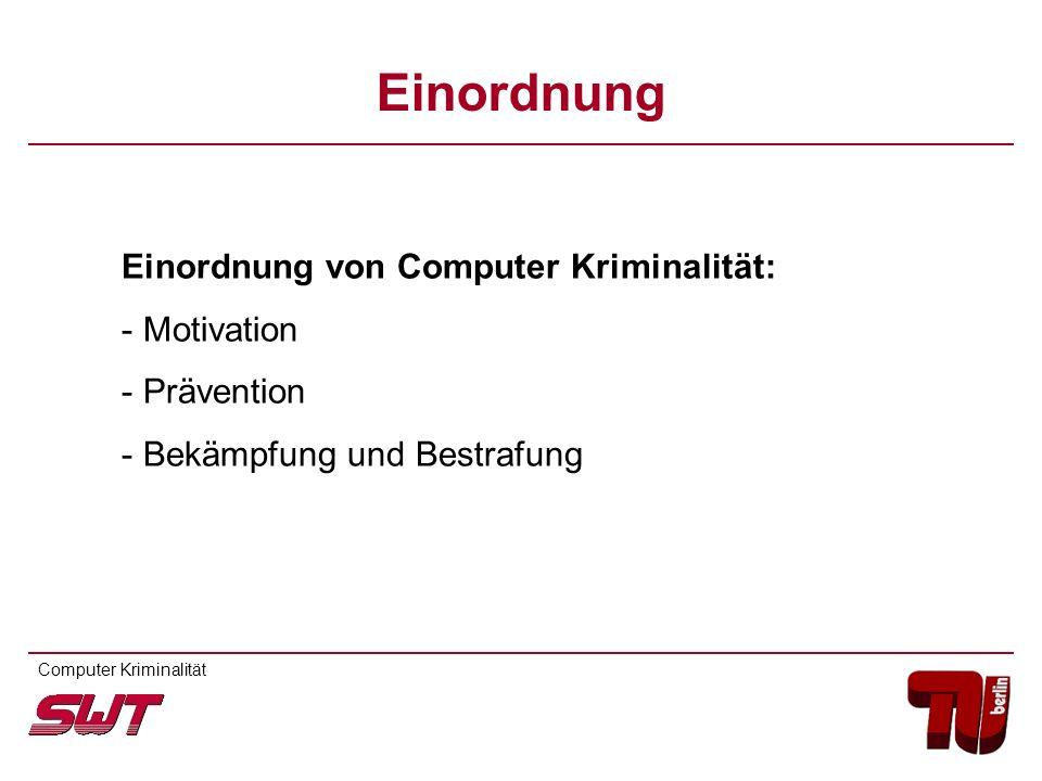 Einordnung Einordnung von Computer Kriminalität: - Motivation - Prävention - Bekämpfung und Bestrafung Computer Kriminalität
