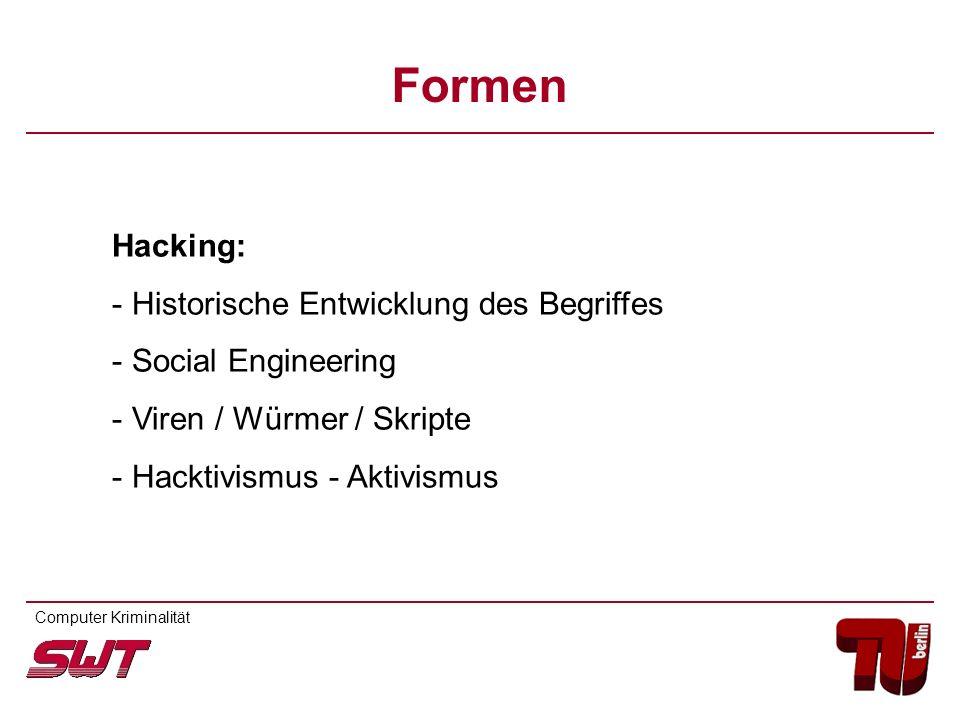 Hacking: - Historische Entwicklung des Begriffes - Social Engineering - Viren / Würmer / Skripte - Hacktivismus - Aktivismus Computer Kriminalität For